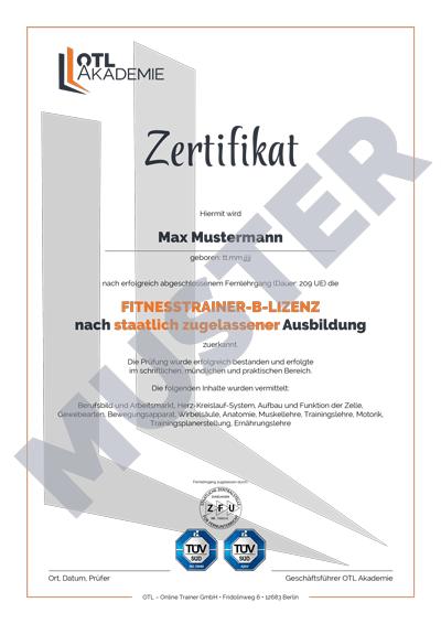 Muster Zertifikat OTL Akademie