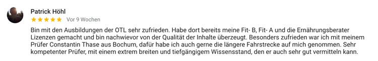 Online Trainer Lizenz Bochum Patrick Bewertung